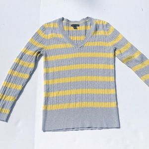 Tommy Hilfiger Gray & Yellow Striped Vneck Sweater